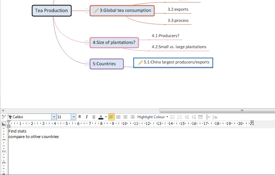 Fig. 2. Example of the notes panel in MindGenius.